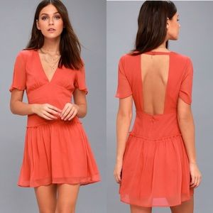 Amuse Society Midnight Love Coral Backless Dress